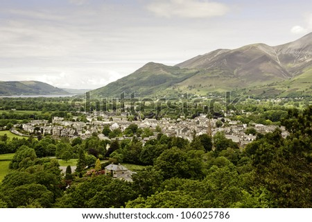 Above view of Keswick in the Lake District, Cumbria, UK - stock photo