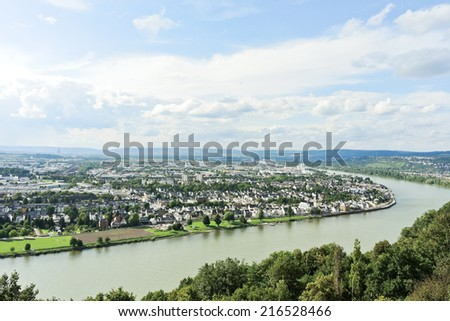 above view of Koblenz town at the confluence of Moselle and Rhine rivers, Germany - stock photo