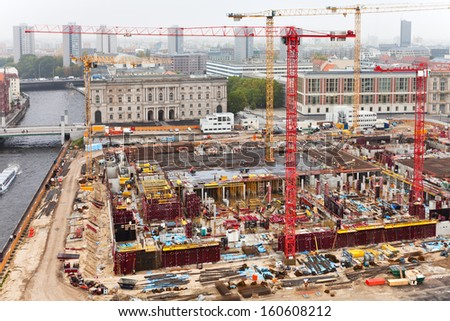 above view of urban construction site in Berlin