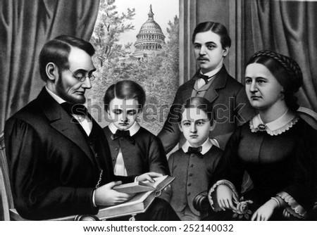 Abraham Lincoln and family, as depicted by artist Kertson Allison, c. 1860s.