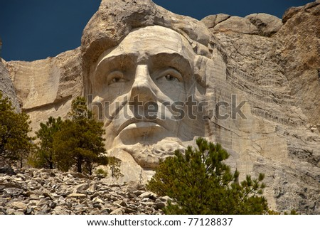 Abraham Lincoln at Mount Rushmore - stock photo