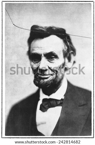 Abraham Lincoln, in one of the last photographs taken, taken by Alexander Gardner on February 5, 1965. The crack is in the original glass negative. - stock photo