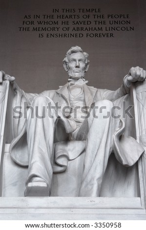 Abraham Lincoln, in the Lincoln Memorial, Washington DC
