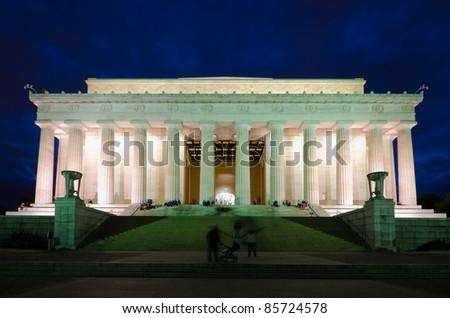Abraham Lincoln Memorial in night, Washington DC, USA - stock photo