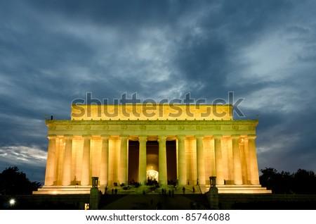 Abraham Lincoln Memorial in night, Washington DC USA - stock photo