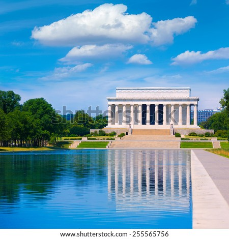 Abraham Lincoln Memorial reflection pool Washington DC US USA - stock photo
