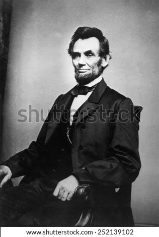 Abraham Lincoln (1809-1865), photograph by Mathew Brady - stock photo