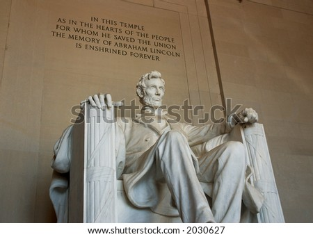 Abraham Lincoln, Right Front View With Inscription - stock photo