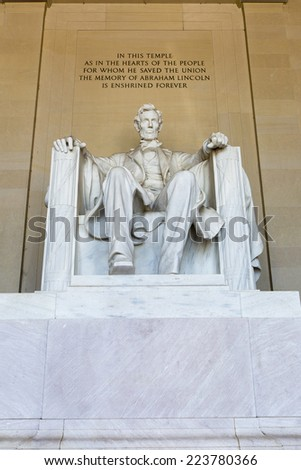 Abraham Lincoln Statue at Lincoln Memorial - Washington DC, United States.