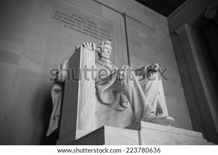 Abraham Lincoln Statue at Lincoln Memorial - Washington DC, United States. Black and white picture. - stock photo