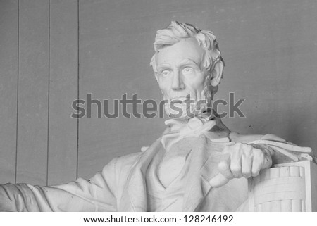 Abraham Lincoln Statue in Lincoln Memorial - Washington DC, United States - stock photo