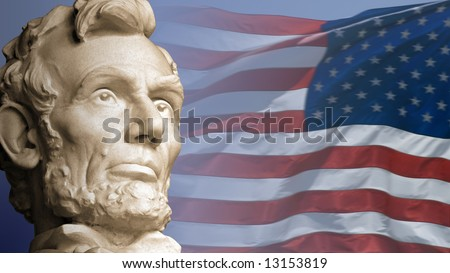Abraham Lincoln, the sixteenth President of the United States, with the current flag of the USA. - stock photo