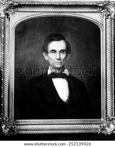 Abraham Lincoln (1809-1865), U.S. President (1861-1865), Lincoln's favorite portrait of himself chosen from about 20 paintings of him from the time. Painted in 1860 by George F. Wright. - stock photo