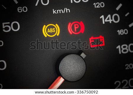 ABS light. Car dashboard in closeup - stock photo