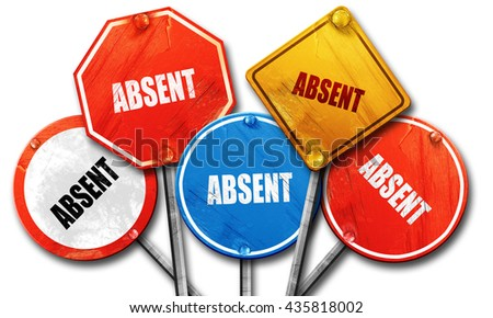 absent, 3D rendering, rough street sign collection - stock photo