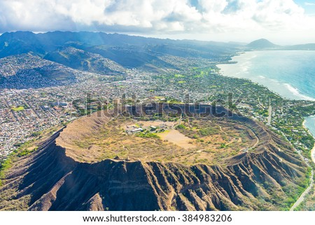 Absolutely amazing aerial view on the Hawaii island with a Diamond head crater and Honolulu city skyline view. - stock photo