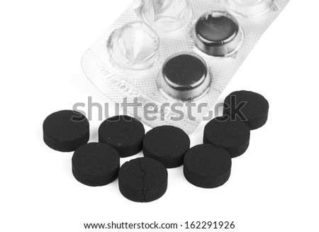 absorbent carbon isolated on white