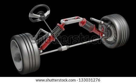 absorber, brake pads and Wheels Isolated on black background. High resolution 3d render