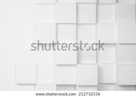 abstact white modern architecture background with white cubes on the wall - stock photo