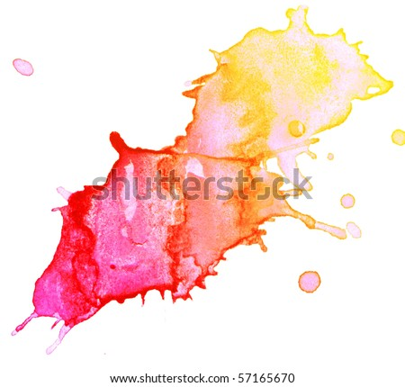 abstaract hand drawn watercolor blot, raster illustration - stock photo