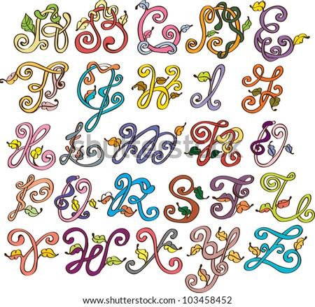 Abstract ABC,natural alphabet with leaves, illustration - stock photo