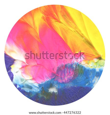 Abstract acrylic and watercolor circle painted background. Isolated - stock photo