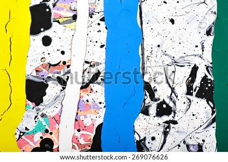 Abstract acrylic modern painting fragment. Colorful rainbow Splashes and stripes texture. Contemporary art. Spray paint.  - stock photo