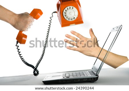 Abstract action with orange phone. Isolated over white background - stock photo