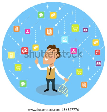 Abstract adult business man with net social communication concept  illustration