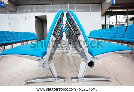 Abstract airport seats - stock photo