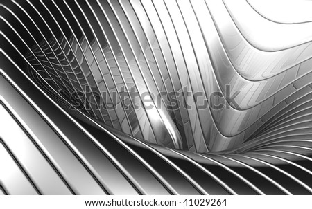 Abstract aluminum wave pattern background 3d illustration - stock photo