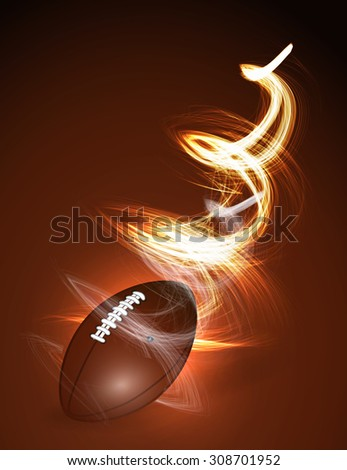 Abstract American football ball in fire - stock photo