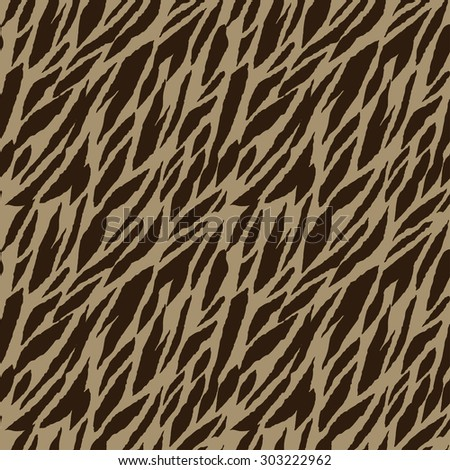 Abstract animal print seamless pattern in coffee colors. Zebra, tiger stripes, lines. Striped repeating background texture. Cloth design. Wallpaper, wrapping - stock photo