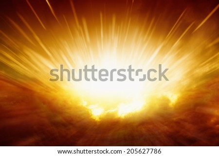 Abstract apocalyptic background - big explosion,  dark red clouds, bright light from sky - stock photo