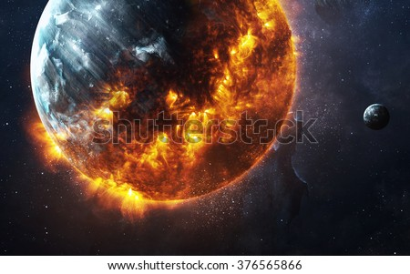 Abstract apocalyptic background - burning and exploding planet . This image elements furnished by NASA - stock photo