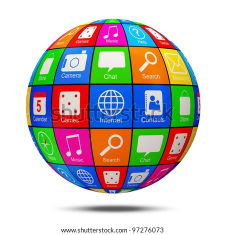 Abstract APP Sphere with Application Icons isolated on white background - stock photo