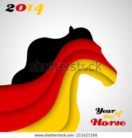 Abstract applique paper horse. Illustration for your happy holiday design. Christmas and New Year card. Colors of the German flag. 2014 - stock photo