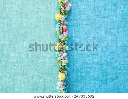 Abstract aqua and blue background divided with beads - stock photo