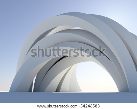 Abstract arch on blue - stock photo