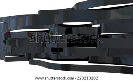abstract architectural background made of black glossy plastic elements