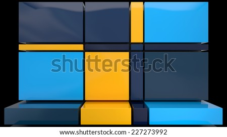 abstract architectural background made of glossy plastic blocks in stylish colors