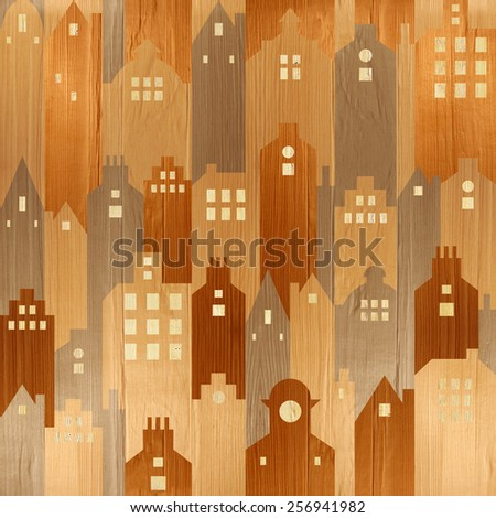 Abstract architectural building - seamless background - wood texture - stock photo