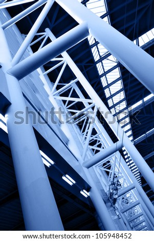 Abstract architectural construction toned in blue color