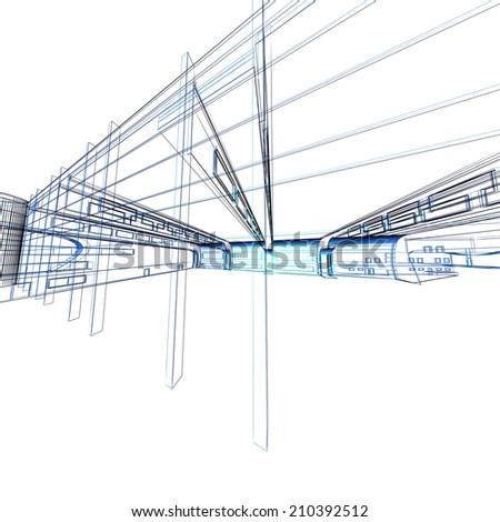 Abstract architectural 3D construction. Concept - modern architecture and designing.