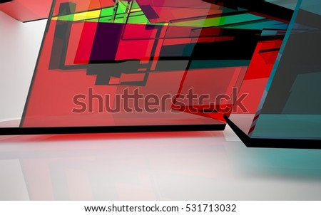 abstract architectural interior with blue, purple and green geometric glass sculpture with black lines. 3D illustration and rendering