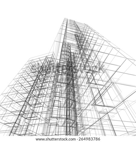 Abstract architecture. Architecture design and model my own - stock photo