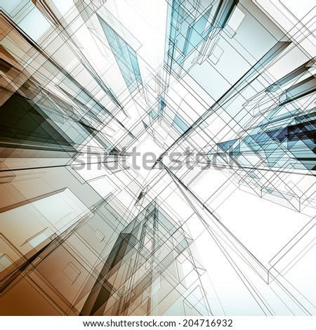 Abstract architecture background. Architecture design and 3d model my own - stock photo