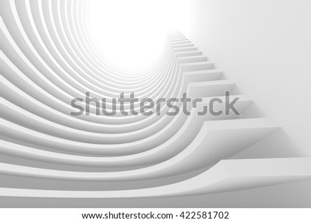 Abstract Architecture Background. White Circular Building. Modern Architectural Design. White Building Concept. 3d Rendering - stock photo
