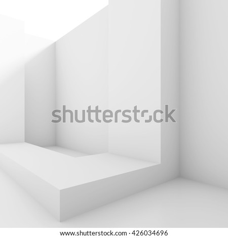 Abstract Architecture Background. White Minimal Interior Design, 3d Illustration of Modern Building Construction - stock photo