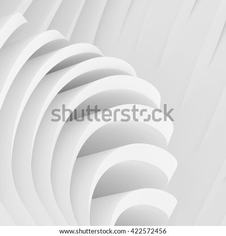 Abstract Architecture Background. White Wave Wallpaper. 3d Rendering Image